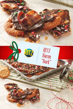 """Sweet and savory, celebrate the holidays with a new favorite, our RITZ Bacon """"Bark."""" Perfect for sharing with your loved ones Find this #NabiscoHolidayRecipe and more at www.snackworks.com Yummy Snacks, Delicious Desserts, Dessert Recipes, Yummy Food, Holiday Baking, Christmas Baking, Holiday Treats, Holiday Recipes, Ritz Cracker Recipes"""