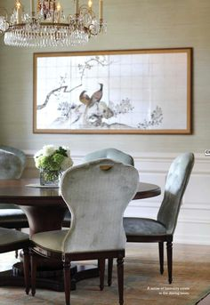 grasscloth wallpaper, chairs with nailhead