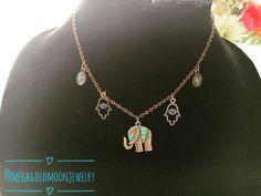 Boho Elephant Necklace by GoldMoonJewelry on Etsy