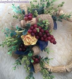 French Country Wreath Rose Burlap Cork by AngelasDecoAccents, $36.00