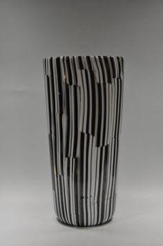 """Rare Genuine """"PIOGGIA"""" cane Vase Ginnette Gignous Venini Murano 60s acid signed"""