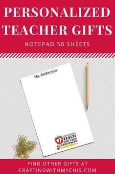 Personalized teacher notepad, teacher gift, end of year gift, personalized notepad Personalized Teacher Gifts, Personalized Note Cards, Personalized Stationery, Advertising And Promotion, Support Small Business, Promote Your Business, Love To Shop, Super Powers, Messages