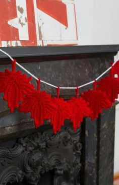 Maple Leaf Banner Free Crochet Pattern from Red Heart Yarns