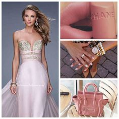 La Femme 20921 ~ chanel ~ pink prom dress ~ strapless dress ~ long prom dress ~ celine purse ~ chiffon dress ~ prom 2015 ~ embroidery ~ open back ~ blush dress ~ gorgeous ~ prom inspo ~