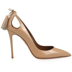 Aquazzura Forever Marilyn patent-leather pumps (5.854.450 IDR) ❤ liked on Polyvore featuring shoes, pumps, heels, aquazzura, nude, tie shoes, nude heel shoes, nude heel pumps, nude patent pumps and pointy-toe pumps