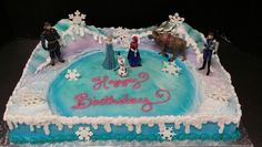 Half Sheet Frozen Set with Frozen Lake, Mountains and Royal Icing Snowflakes
