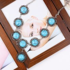 Retro Round Turquoise Jewelry Sets Necklace Earrings for Women Ladies Jewelry Gift