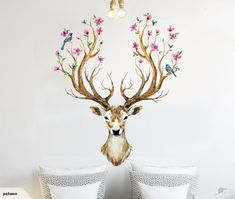 Animal Cartoon Vintage Wall Stickers Sika Deer flowers and birds living room bedroom Wall Decals Home Decor DIY PVC Home Decor    HOT! Fashion design! High qual...