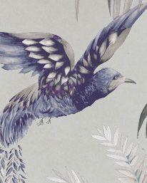 Tapet Bird of Paradise Steel Blue/ Grey/ Metallic Gilver från Matthew Williamson