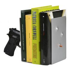 Pistol Bookend Black by Antartidee. Good design is often in the details, the playful accents—or in the case of this bookend—the loaded pistol that makes your space an extraordinary place. Antartidee imparts impressive practicality into an imaginative object, giving you a surreally cool tool to keep your books in order. For those who actually have books this could be a statement or you are an iconoclast. Fab.com.