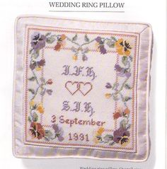Heirlooms in Needlepoint - wedding ring pillow
