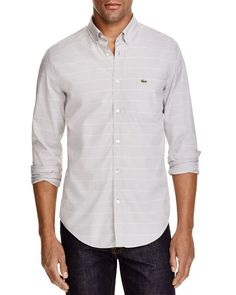 Lacoste Stripe Slim Fit Button Down Shirt
