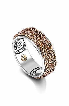 Men's John Hardy 'Classic Chain' Braided Two-Tone Band Ring - Bronze/ Silver