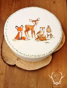Baby Forest Animals Painted Cake http://www.sweetdeer.co.nz  PAINTED CAKES Rustic Cakes