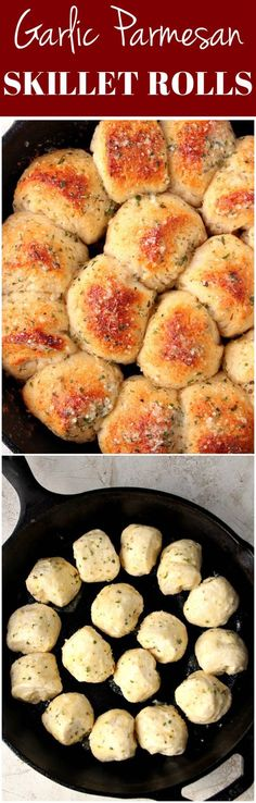 Garlic Parmesan Skillet Rolls 2019 Garlic Parmesan Skillet Rolls Recipe buttery rolls baked in a skillet for a fun pull-apart effect. Perfect with a bowl of soup or pasta! The post Garlic Parmesan Skillet Rolls 2019 appeared first on Rolls Diy. Iron Skillet Recipes, Cast Iron Recipes, I Love Food, Good Food, Yummy Food, Tasty, Fingers Food, Buttery Rolls, Weight Watcher Desserts