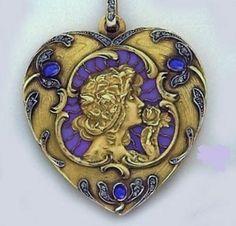 Art Nouveau gold, diamond and enamel pendant