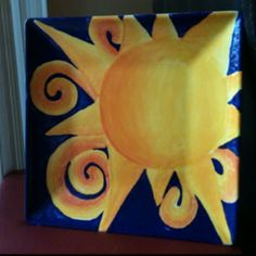 Square plate painted by Jennifer Beamer! <3