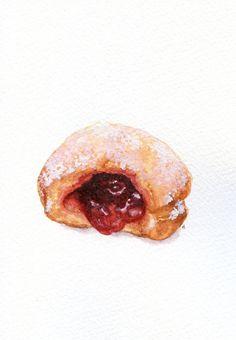 Jelly Doughnut ORIGINAL Painting Still Life por ForestSpiritArt