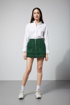Weekday | Piet Mini Skirt (Green)    Buy: https://www.weekday.com/en_gbp/women/categories/skirts/product.piet-mini-skirt-dark-green.0594133001.html