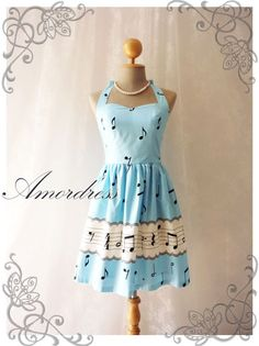 Music In Blue Dress Summer Dress Retro Party Cocktail by Amordress