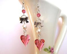 Pink Swarovski Crystal Wild Heart and Pearl Earrings (E113 Pink). $20.00, via Etsy.