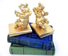 Vintage Mid-Century Gold Elephant Bookends || Hollywood Regency Decor || Boho Chic Nursery Accents by ELECTRICmarigold on Etsy