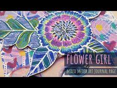FLOWER GIRL - Mixed Media Art Journal Page- Lulu Art Design Team 2019 - YouTube Art Journal Pages, Art Journals, Face Stencils, Sharpie Paint, Make Your Own, Make It Yourself, Art Store, Art Design, Medium Art