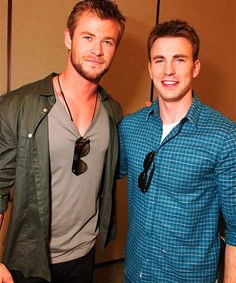 Chris Evans and Chris Hemsworth. (Captain and Thor)