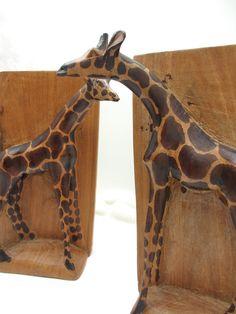 Vintage Carved Wood Giraffe Bookends; African art