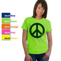 Kappa Delta Sorority Neon Peace Sign Printed T-Shirt