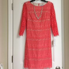 Coral lace dress with cream lining. NWT NWT Jessica H beautiful coral lace dress with cream colored lining. 3/4 sleeves. And zipper in back. Great for work or date night. Jessica H Dresses Midi