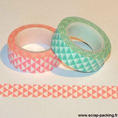 """Mini triangles"" - Masking tape 10m {2 couleurs} en vente sur www.scrap-packing.fr #washi #emballage #packaging"