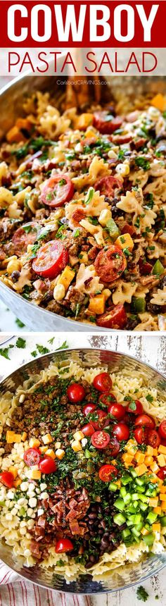 This Cowboy Pasta Salad is purely addictingloaded with juicy ground beef bacon sweet corn black beans tomatoes and cheese smothered in tangy creamy southwest barbecue sauce! Perfect for potlucks or make ahead dinners! via Carlsbad Cravings Potluck Recipes, Beef Recipes, Cooking Recipes, Healthy Recipes, Barbecue Recipes, Chicken Recipes, Recipies, Pasta Dishes, Food Dishes