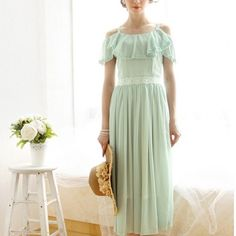 Summer Elegant Beach Falbala Chiffon Dress Green