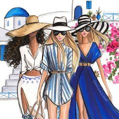 Vacation so close I can taste it. And it tastes like rum swizzles lol. Best Friend Drawings, Bff Drawings, Fashion Illustration Sketches, Fashion Sketches, Illustrations, Foto Fashion, Girl Fashion, Chica Cool, Fashion Design Drawings