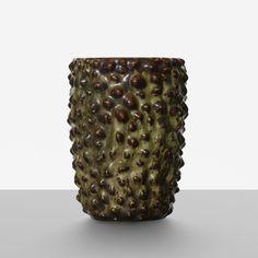 Axel Salto: Budding vase.  Royal Copenhagen, Denmark, c. 1950. glazed stoneware 10.25 h x 7.5 w x 7.75 d in