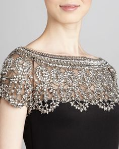 Marchesa Couture Bead-Lace Illusion Cocktail Dress - Neiman Marcus