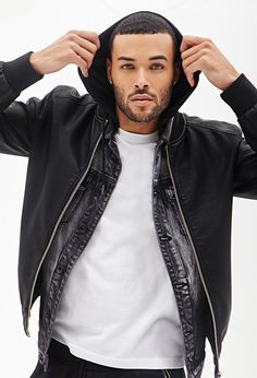 Faux Leather Bomber Jacket #21Men he was on ANTM 20!