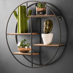 Wood Shelving Units, Wood Shelves, Industrial Wall Shelves, Metal Shelving, Hanging Shelves, Circle Wall Shelf, Regal Industrial, Industrial Style Bedroom, Deco Cactus