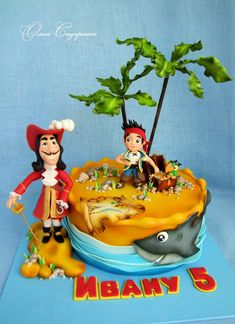 12 Piece PIRATE Yo Ho Yo Ho Birthday Cake Topper Set Featuring Random Pirate Figures and Decorative Themed Accessories