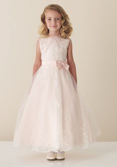 Discount 2012 Beautiful Applique Round Neckline Bowknot Ankle-length Flower Girl Dress (FGD-053) Online