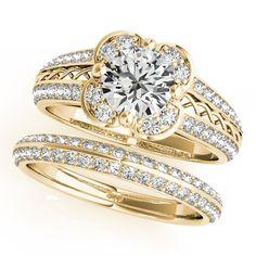 Diamond Split Shank Flower Halo Bridal Set 18k Yellow Gold 2.25ct - Allurez.com