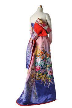 setsuko wakatsuki(若槻せつ子)/ 着物ドレス-No,307 枝垂れ桜飛翔鶴&牡丹柄 ピンク紫Aライン