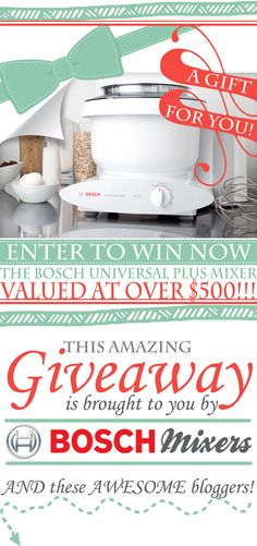 Eeeeek!!!  Another @Nutrimill Bosch Mixers universal plus mixer giveaway on the blog!  Come on over and enter!!!   @Ashlee Outsen (I'm Topsy Turvy)