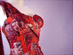 An Original Early Alfred Shaheen Rare Pagan Primitives Print Sun Dress of the Tiki gods c. Hawaiian Wear, Vintage Hawaiian, Hawaiian Dresses, Modern 50s Fashion, Retro Fashion, Vintage Fashion, Tiki Dress, Sarong Dress, Pin Up Dresses