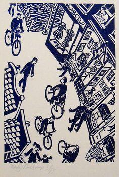 Hartenstraat, Amsterdam - Linocutprint