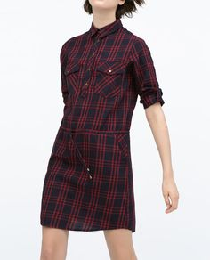 Image 2 of GATHERED WAIST CHECKED DRESS from Zara