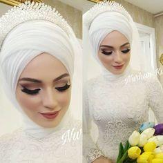 Likes, 135 Comments - 👑Türban Tasarım&Makeup Studıo👑 (NurHan Tür. Hijabi Wedding, Muslim Wedding Gown, Muslimah Wedding Dress, Muslim Wedding Dresses, Muslim Brides, Wedding Dress Trends, Makeup Hijab, Bridal Hijab Styles, Bridal Makeup Looks