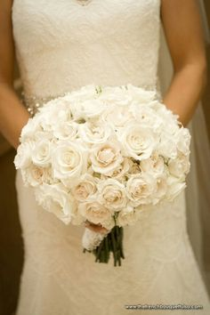 Gorgeous Bridal Bouquet Featuring Several Varieties Of White Rose + White Lisianthus^^^^