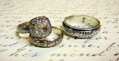 Anastasia Ring Set - Vintage Sterling Silver Swarovski Crystal Husband & Wife Wedding Set by EternalElementsShop on Etsy https://www.etsy.com/listing/109727023/anastasia-ring-set-vintage-sterling